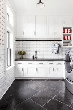 Large white laundry room with custom cabinetry and sink. Designed by chango Laundry Room Tile, White Laundry Rooms, Farmhouse Laundry Room, Laundry Room Design, Small Laundry, Laundry Room With Sink, Kitchen Design, Kitchen Decor, Large Laundry Rooms