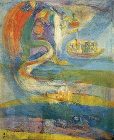 (Korea) Hymn of the Sea 1971 by Chun Kyung-ja (1924-2015). 천경자. 바다의 찬가.
