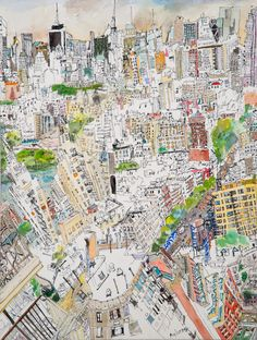 Great examples of watercolor and ink.   Urban_Frenzy by Olive Ayhens