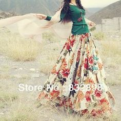 New Fashion Long Flowing Thick Cotton Multicolor Print Skirts