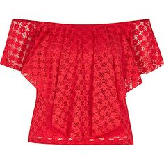 Red frilly bardot top $52.00