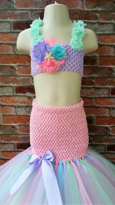 Rainbow Mermaid tutu dress. Ariel tutu dress. Beach tutu