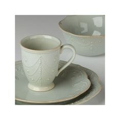 French perle ice blue 4-piece place setting by lenox ($129) ❤ liked on Polyvore featuring home, kitchen & dining, dinnerware, lenox stoneware, lenox fine china, lenox bowl, lenox tableware and lenox china