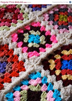 ON SALE Crochet granny square afghan in bright por mostlyjonah