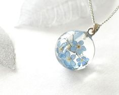 Dried Blue Flowers Necklace Real Forget Me Not Flowers Jewelry Dried Flower Jewelry Dried Forgetmenot Flowers Neckace Forget-me-not Jewelry