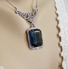 Denim Blue Crystal Necklace Emerald Cut by CreatedinTheWoods
