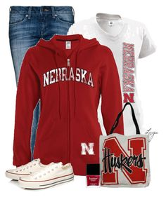 """Nebraska Huskers!"" by lagu ❤ liked on Polyvore featuring MANGO, Russell Athletic, Converse and Butter London"