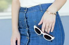 Catch the latest? White Zara sunglasses and gold dainty jewelry...perfect accents for a white and denim look! #ootd