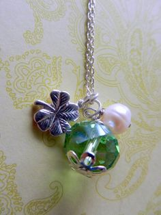 LAST ONE Four Leaf Clover Charm with Green by CloudNineDesignz, $35.00