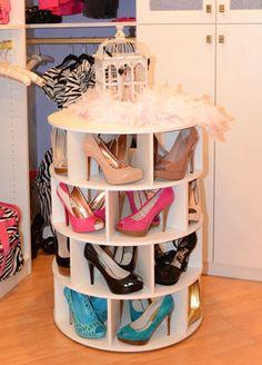 Lazy Susan shoe carousel! @Courtney Gaylor