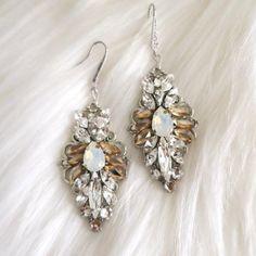 Opal Earrings, Drop Earrings, Bridal Earrings, Statement Earrings, Swarovski Crystals, Touch, Make It Yourself, Bride, Sterling Silver