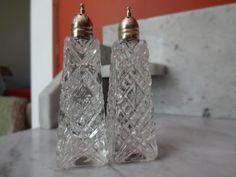 Vintage Diamond Pattern Glass Salt and Pepper Shakers | SelectionsBySusan - Kitchen & Serving on ArtFire