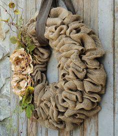 Burlap Wreath with Beige Peony flowers