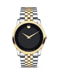 Movado Men's Swiss Museum Classic Two-Tone Pvd Stainless Steel Bracelet Watch 0606899 - Black Dial Stainless Steel Watch, Stainless Steel Bracelet, Movado Mens Watches, Alabama, Black Museum, Vintage Watches For Men, Classic Gold, Classic Style, Cool Watches