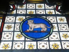 A cat in a stained glass window!