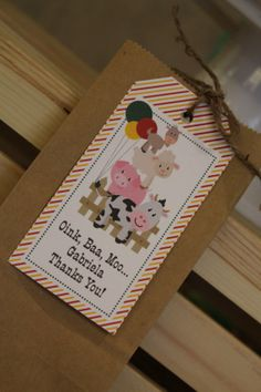 "Barnyard party favor tags- farm animal party favor tags....""Oink Baa Moo"""