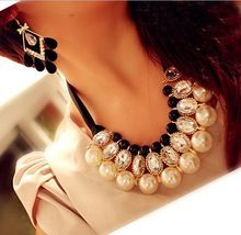 New Fashion Multilayer Simulated Pearl Choker Necklace for Women Pearl Pendant Necklace with Crystal Rhinestone free shipping$10(China (Mainland))