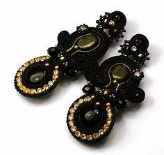 Larris handmade jewellery: Glami black soutache kolczyki