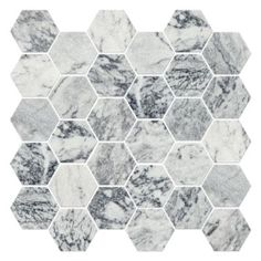 This might work --it's honed. A palette of stormy grey and crisp white form a unique laced vein pattern in this natural marble.