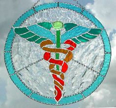 """Stained Glass Sun Catcher - Caduceus - Medical Symbol - Physician - Handcrafted Stained Glass Suncatcher -Gift for Doctor - 11"""" - 9755-AQ by StainedGlassDelight on Etsy"""