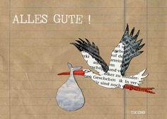 Baby & Geburt - Postkarte zur Geburt mit Storch - ein Designerstück von TikiOno bei DaWanda