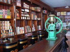 fine old wooden shop counter and shop shelves