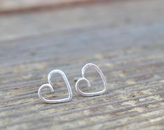 Petite Heart Sterling Silver Post Earrings, Super cute gift idea for Valentine's Day!  Perfect for women of all ages <3