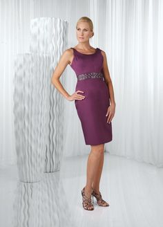 A-line Scoop Neckline Sleeveless Beaded Waistband Satin Mother Of The Bride Dress-mob0032, $172.95