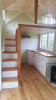 There is a lot of people saying that having tiny house ideas is not good solutions. However, before you start complaining, you might want to see loft stair ideas. The picture above is an example that having a tiny house… Continue Reading → Tiny House Cabin, Tiny House Living, Tiny House Plans, Tiny House Design, Tiny Cabins, Tiny House Storage, Tiny House With Loft, Tiny House Kitchens, Design Homes