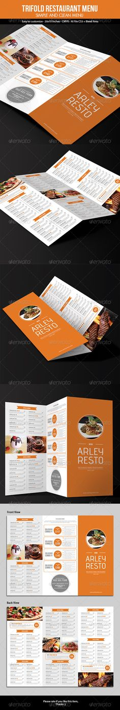 Trifold Simple Restaurant Menu, This Trifold Restaurant Menu Template (simple and modern style), can be used for Restaurant, Cafe, Fast Food, etc. Very easy to edit text and color. File features 15x20 Inches   3mm Bleed area CMYK Customizable Text & Color Front & Back design Adobe Illustrator File (minimum CS3) EPS File Product images are not included
