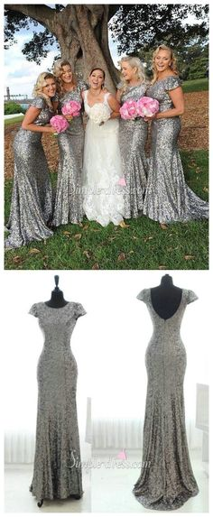 Sparkly Popular Cheap Short Sleeve Bling Silver Sequin Sexy Mermaid Long Bridesmaid dresses, The long bridesmaid dresses are fully lined, 4 bones in the bodice, chest pad in the bust, lace up bac Country Bridesmaid Dresses, Wedding Bridesmaids, Sparkly Bridesmaid Dress, Bridesmaid Ideas, Wedding Party Dresses, Dress Party, Party Wedding, Prom Dresses, Wedding Inspiration