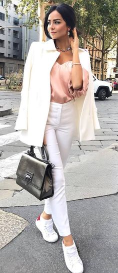 beautiful casual outfit idea / white blazer + silk blouse + bag + pants + sneakers