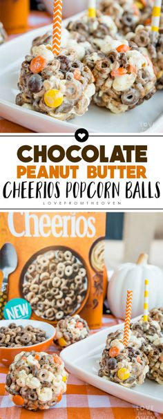 Chocolate Peanut Butter Cheerios Popcorn Balls by Love From The Oven (best cookies christmas) Peanut Butter Popcorn, Peanut Butter Desserts, Köstliche Desserts, Chocolate Peanut Butter, Delicious Desserts, Dessert Recipes, Peanut Butter Balls, Creative Desserts, Breakfast Recipes