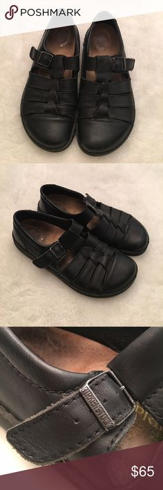 Birkenstock Footprints Black Shoes size 8 Preowned authentic Birkenstock Footprints Black Shoes size mens 8 ladies 10. Signs of normal wear in leather. Has working buckle. Please look at pictures for better reference. Happy shopping! Birkenstock Shoes