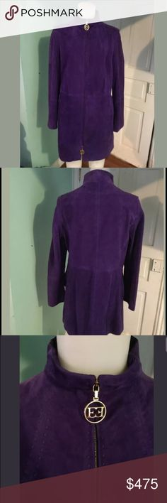 Escada Purple Coat sz42 12US This is a fabulous vintage Escada coat. Features a beautiful purple color with gold detail. This is a size42 which converts to a US12. The coat is made of 100% Goat Suede Leather and 100%Silk lining. This is a rare and fab coat. Escada Jackets & Coats