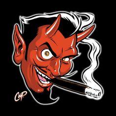 The Coop Classic! A devil smoking a cigar! Available in men's, women's, and kid's styles! Rockabilly Artwork, Dibujos Dark, Devil Tattoo, Garage Art, Arte Horror, Lowbrow Art, Nose Art, Creepy Cute, Dark Fantasy Art