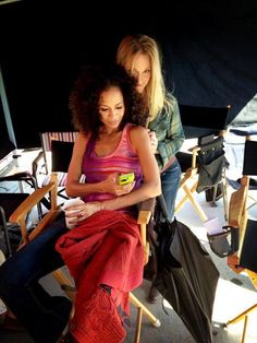 Sherri Saum and Teri Polo on the set of The Fosters