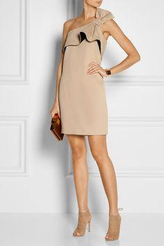 HALSTON HERITAGE Bow-embellished twill mini dress $375