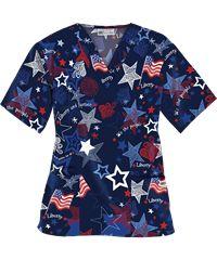 Style # PC61LJN: UA Liberty and Justice Navy V-Neck Print Scrub Top