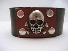 Skull Bracelet Skull  Leather Bracelet Leather by Treeleafleather