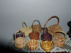 Vintage Lot 10 Weaved Miniature Baskets Asst Pine by AidensVintage