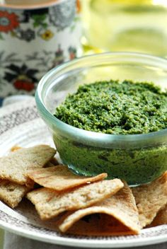 Kale-Pine Nut Pesto with nutritional yeast and miso paste? Yep, going to need my own bowl of that.