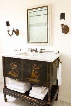 Chinoiserie / Asian / Oriental cabinet repurposed as a bathroom vanity - Marble . Chinoiserie / Asian / Oriental cabinet repurposed as a bathroom vanity - Marble countertop - Antique wall sconces, Wooden Bathroom Vanity, Diy Bathroom Decor, Bathroom Furniture, Modern Bathroom, Small Bathroom, Bathroom Ideas, Bathroom Organization, Asian Bathroom, Minimal Bathroom