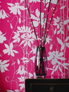 Laurence Llewelyn-Bowen Paradise Garden Wallpaper - Pink/Silver | very.co.uk