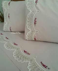 Hand Embroidery Flowers, Ribbon Embroidery, Cross Stitch Embroidery, Embroidery Art, Machine Embroidery, Crochet Towel, Crochet Lace Edging, Chandelier Wedding Decor, Cream Pillow Covers