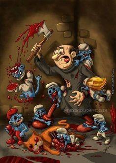 The Zombie Smurfs are getting their revenge on Gargamel and Azreal for terrorizing them Disney Horror, Horror Cartoon, Zombie Disney, Funny Horror, Cartoon Tv, Horror Movies, Cartoon Characters, The Crow, Dark Artwork