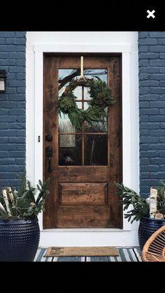 farm-style mid century modern contemporary rustic door // handmade custom fixer upper style entry door for your home. Hardwood Front Doors, Wooden Front Doors, Rustic Doors, Front Door Decor, Front Door With Glass, Modern Front Door, Front Door Colors, Front Door Design Wood, Front Doors With Windows