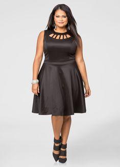 2e5cbfc107b75 Cage Neck Scuba Skater Dress-Plus Size Dresses-Ashley Stewart
