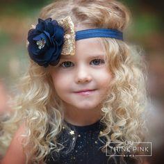 Bebé las vendas venda de niñas azul marino y oro por ThinkPinkBows