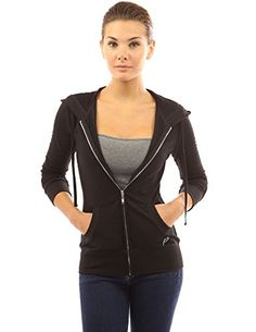 #PattyBoutik Cotton Blend Hoodie Zip Up Kangaroo Pocket Long Sleeve Jacket. Fabric: Body: 40% Cotton 60% Polyester. Model in pictures is 5 feet 8 inches (173cm) ...